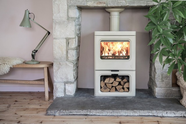 Charnwood Skye Multi-fuel Stove with Store Stand in Almond Finish